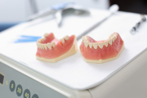 Close up of two dentures inside the dentist clinic